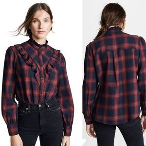 The Fifth Label Navy & Red Ruffled Flannel Shirt